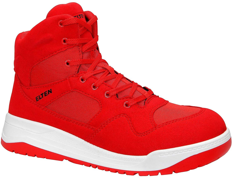 ELTEN Maverick rot Mid ESD S3 Herren Sicherheitsschuhe, Arbeitsschuhe, Sicherheitsschnürstiefel, Zertifiziert nach EN ISO 20345   S3, Stahlkappe (Rot), EU 42  | Stilvoll und lustig