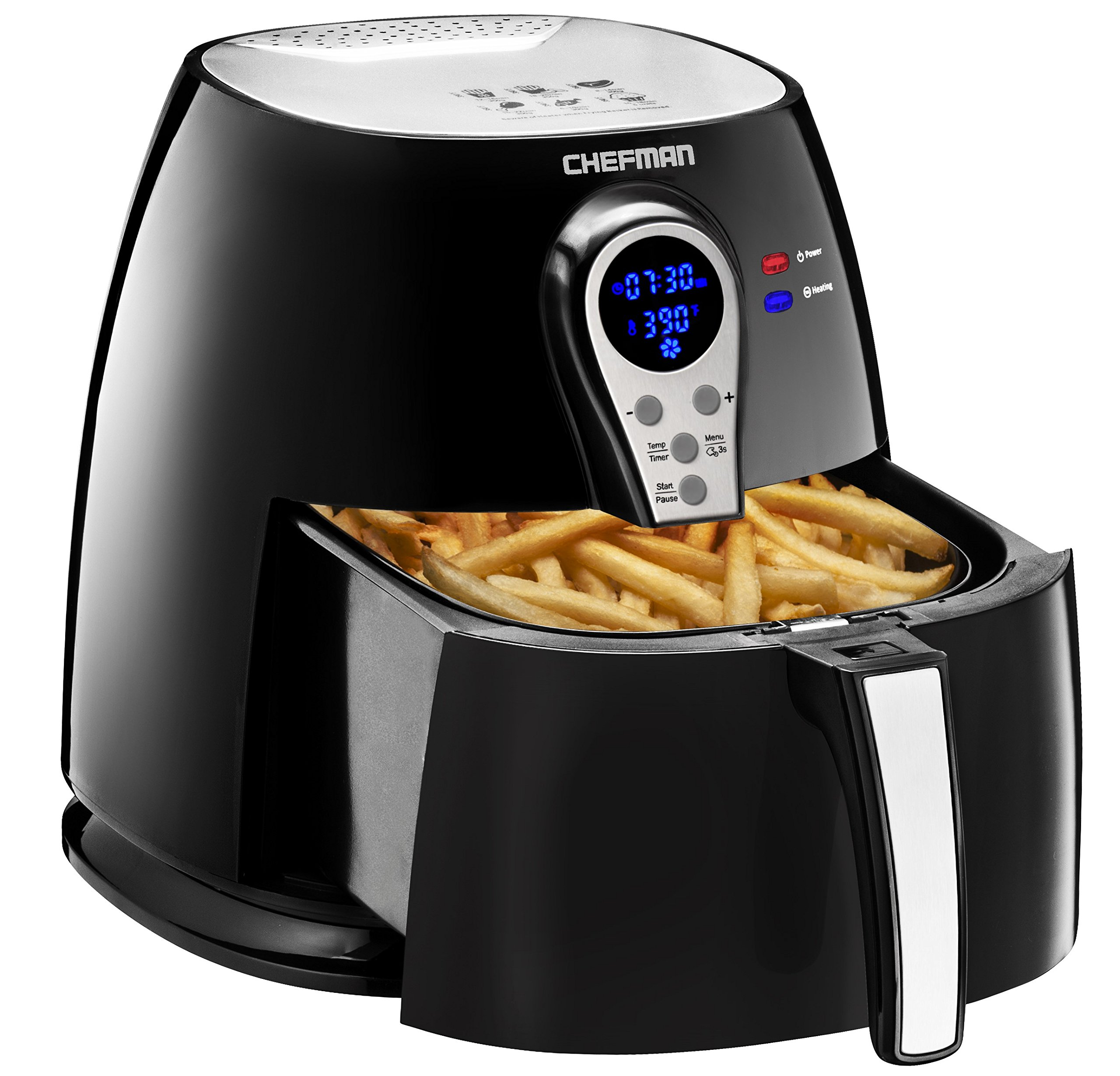 Chefman Air Fryer with Digital Display Adjustable Temperature Control for the Perfect Result in Frying a Variety of Foods, Cool-to-Touch Exterior and 2.5L Fryer Basket Capacity, Black - RJ38-P1
