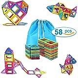 Magnetic Blocks Building Set Toys For Kids TOQIBO 58PCS Magnet Tiles Educational Building tiles Construction Toys For Boys Girls With Storage Bag
