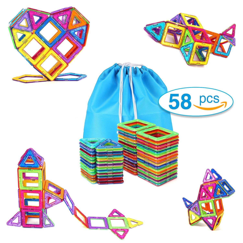 TOQIBO Magnetic Blocks Building Set Toys For Kids 58PCS Magnet Tiles Educational Building tiles Construction Toys For Boys Girls With Storage Bag