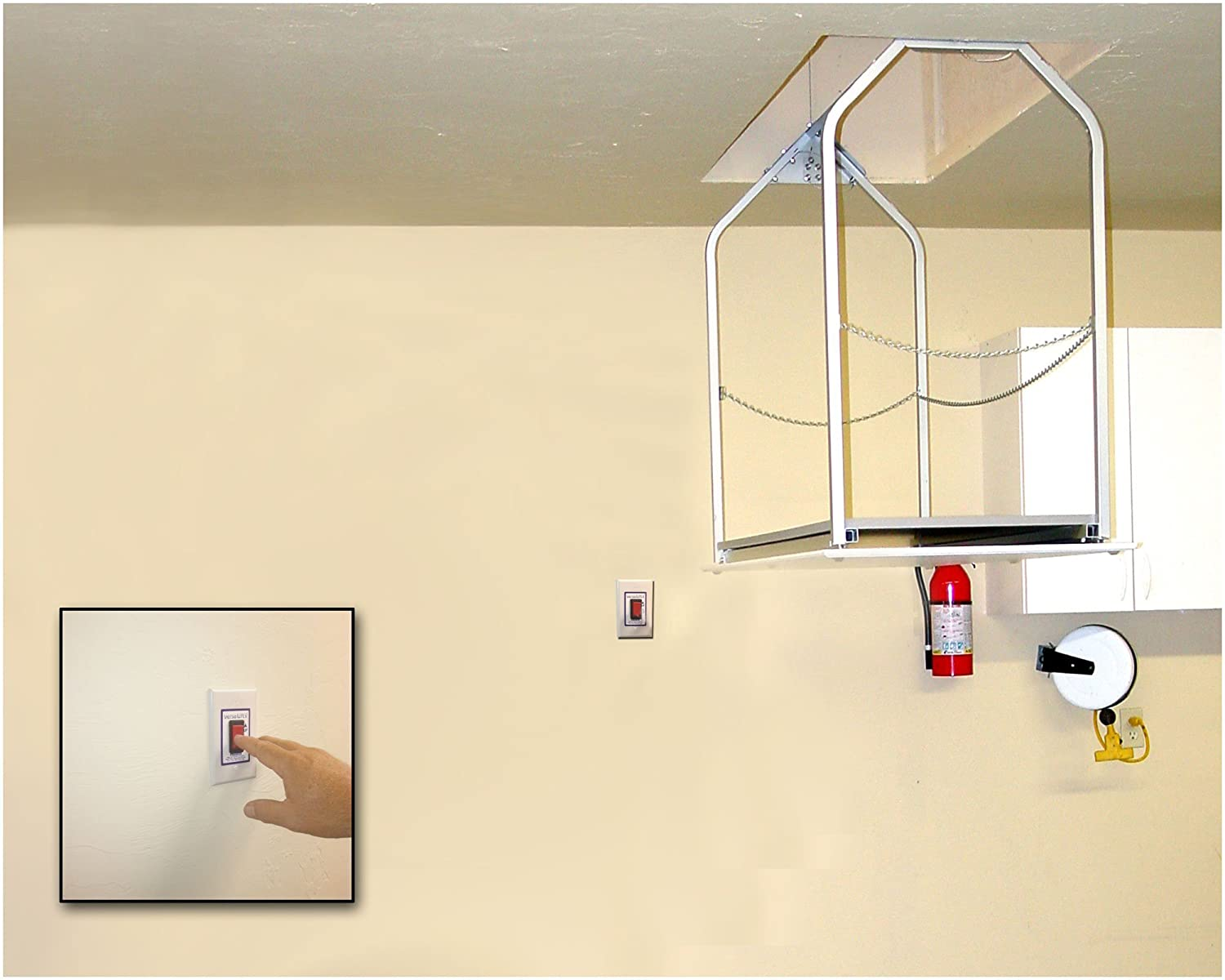 Versalift Attic Lift Model 24 M 8 11 Has 2 In Wall Switches Wiring Diagram Floor To Garage Height Load Capacity 200 Lbs Industrial