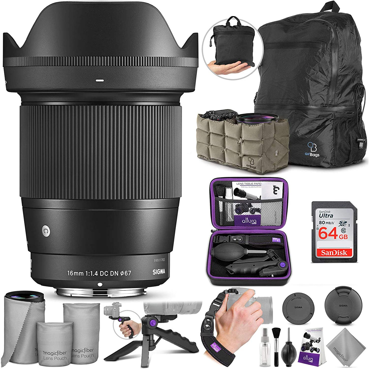 Gadget Place Professional 3-Stage Collapsible Universal Rubber Multi-Lens Hood for Sigma 16mm F1.4 DC DN Sony E-Mount or mft