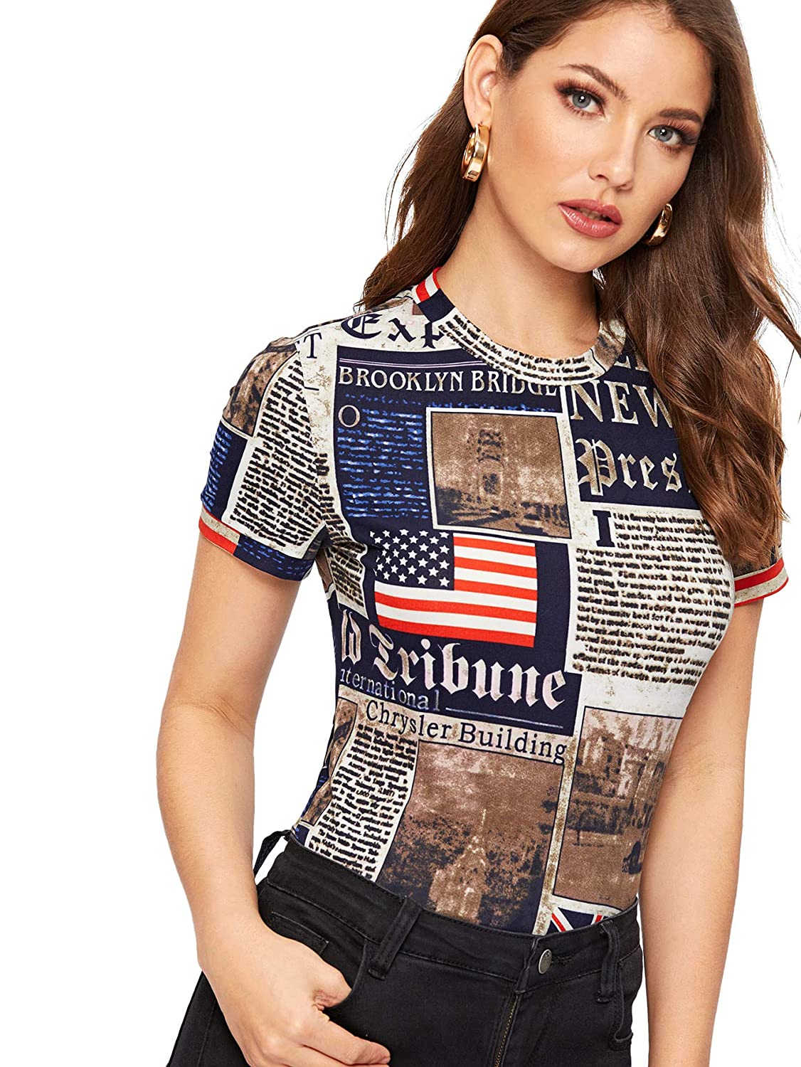 WDIRA Women s Newspaper Graphic Letter Print Slim Fit Casual Tee Top at Amazon  Women s Clothing store  9714eaa3e