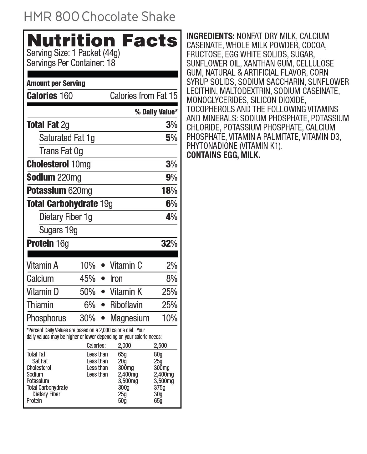 HMR 800 Chocolate Shake Triple Pack, 16g Protein, 3 Boxes of 18 Servings by HMR