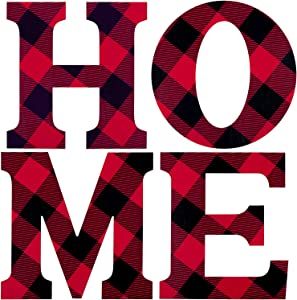 4 Pieces Wood Home Sign Decor Buffalo Plaid Home Decor Word Signs Large Home Letters Sign Hanging Sign for Christmas Home Wall and Door Decoration