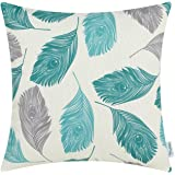 CaliTime Canvas Throw Pillow Cover Case for Couch Sofa Home, Peacock Feathers 18 X 18 Inches, Grey Teal Turquoise