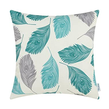 CaliTime Canvas Throw Pillow Cover Case for Couch Sofa Home Decoration Peacock Feathers 20 X 20 Inches Grey Teal Turquoise