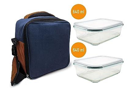 NERTHUS Lunch Bag Azul + Tuppers Fiambrera Bolsa termica Porta Alimentos, Navy + 2 Tupper Herméticos Cristal, Azúl, Única