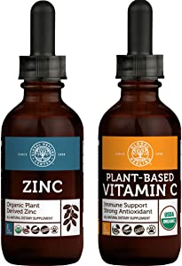 Global Healing Plant-Based Vitamin C & Zinc Kit - Vegan Antioxidant for Immune Booster & Skin Health and Organic Liquid Supplement Drops Support Immune System & Healthy Cell Growth - 2 Fl Oz Each