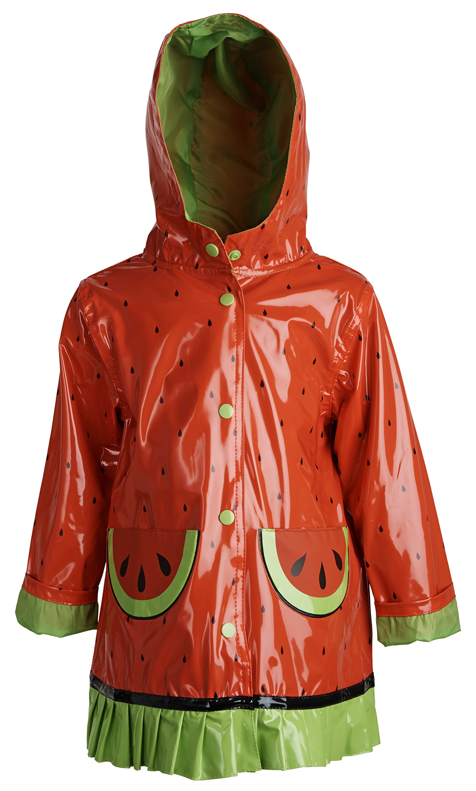Wippette Baby Girls Waterproof Vinyl Fully Lined Hooded Watermelon Rain Jacket - Tomato (24 Months) by Wippette