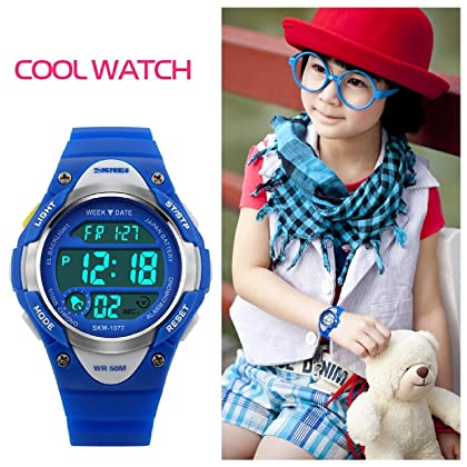 Kids Outdoor Sports Children's Waterproof Wrist Dress Watch With LED Digital Alarm Stopwatch Lightweight Silicone for Boy Girl - Blue