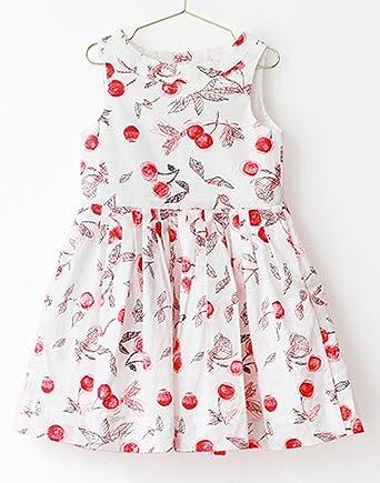 2f2942a6f918a ガールズ 女の子 ノースリーブ ワンピース キッズ ドレス 子供服 ベビー 花柄 (120 (推奨身長