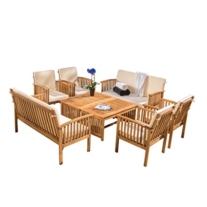 Amazon Com Great Deal Furniture Beckley 8 Pc Outdoor Wood Sofa