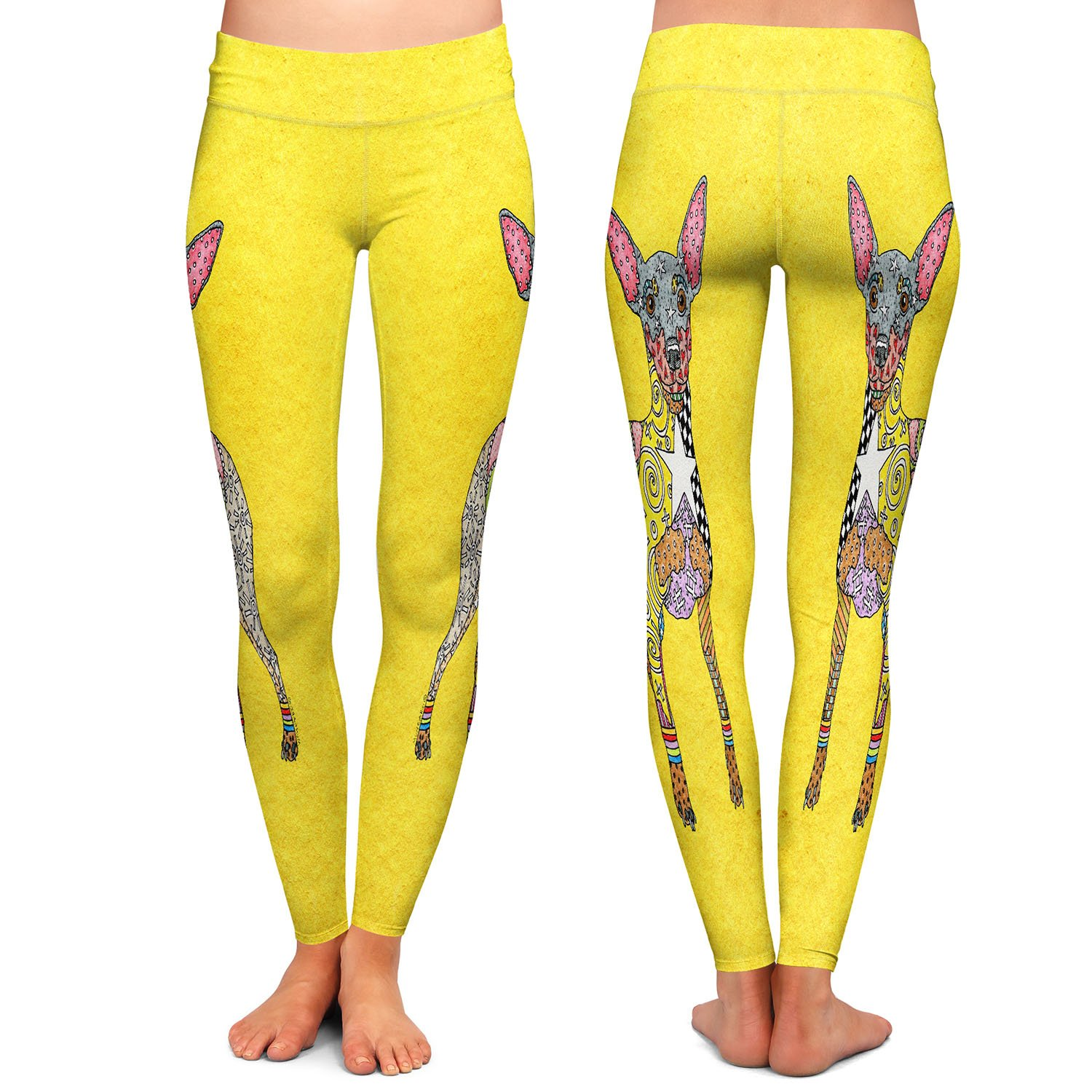 Mini Pinscher Yellow Athletic Yoga Leggings from DiaNoche Designs by Marley Ungaro