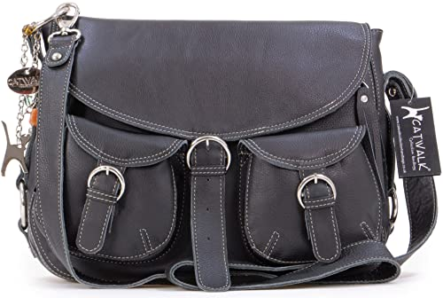 Catwalk Collection Big Leather Cross-Body Bag - Courier - Black(Size ... 8771abd1c7a