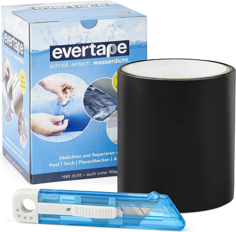 Everfix EVERTAPE Cinta Adhesiva Reparadora - Cinta Resistente al Agua - Cinta para Reparar y Sellar - Cinta Impermeable Usable Bajo el Agua y Superficies Húmedas - Cinta Negra (100 mm x 1,5 m)