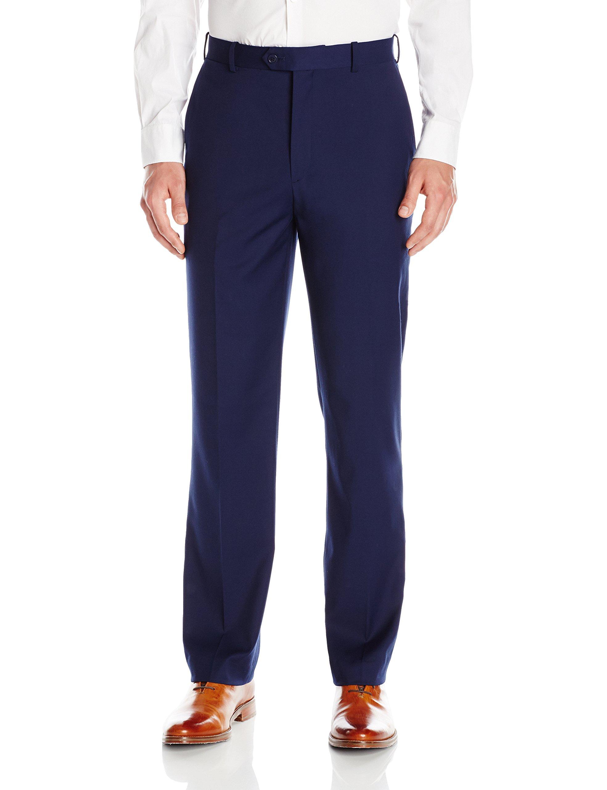 Adolfo Men's Micro Tech Flat Front Suit Pant, Blue with Lycra Stretch, 44Wx30L