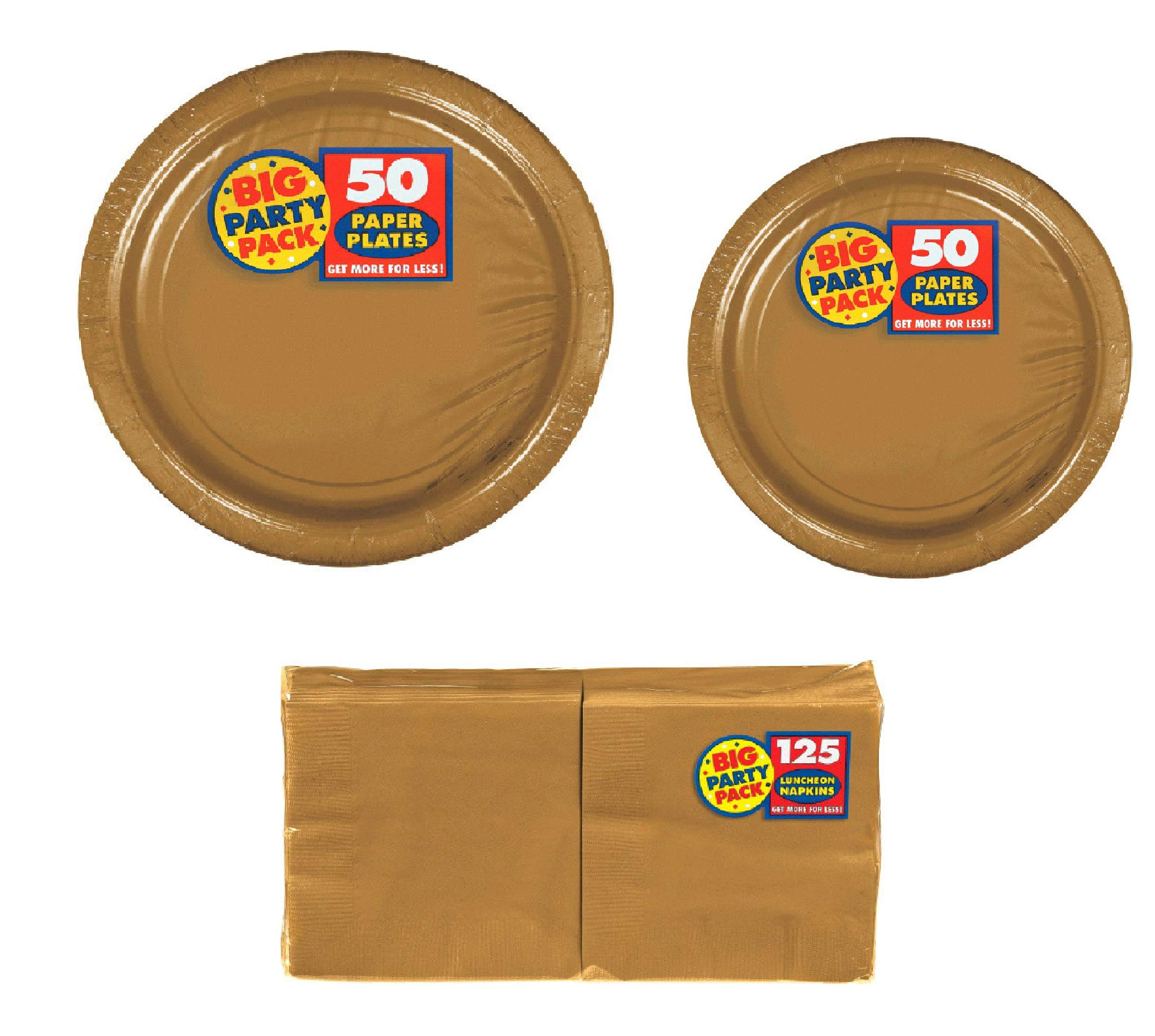 Amscan Big Party Supplies Pack Solid Gold Color Bundle set for 50 Guests 9'' Dinner Paper Plates, 7'' Luncheon Paper Plates and, 2-ply Luncheon Napkins with a Complementary Recipe Card by Delexiana