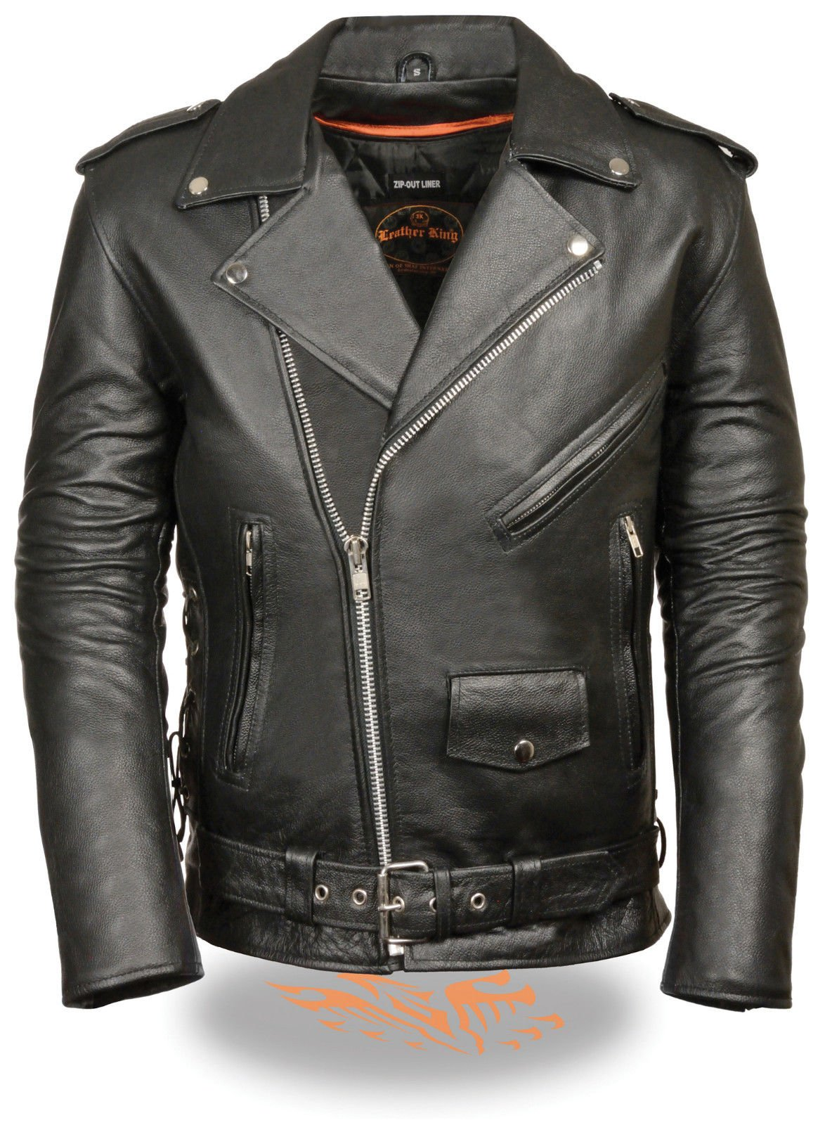 Men's Motorcycle Blk Police Style Leather Jacket with Side Laces upto 11XL Size (9XL-11XL Regular)