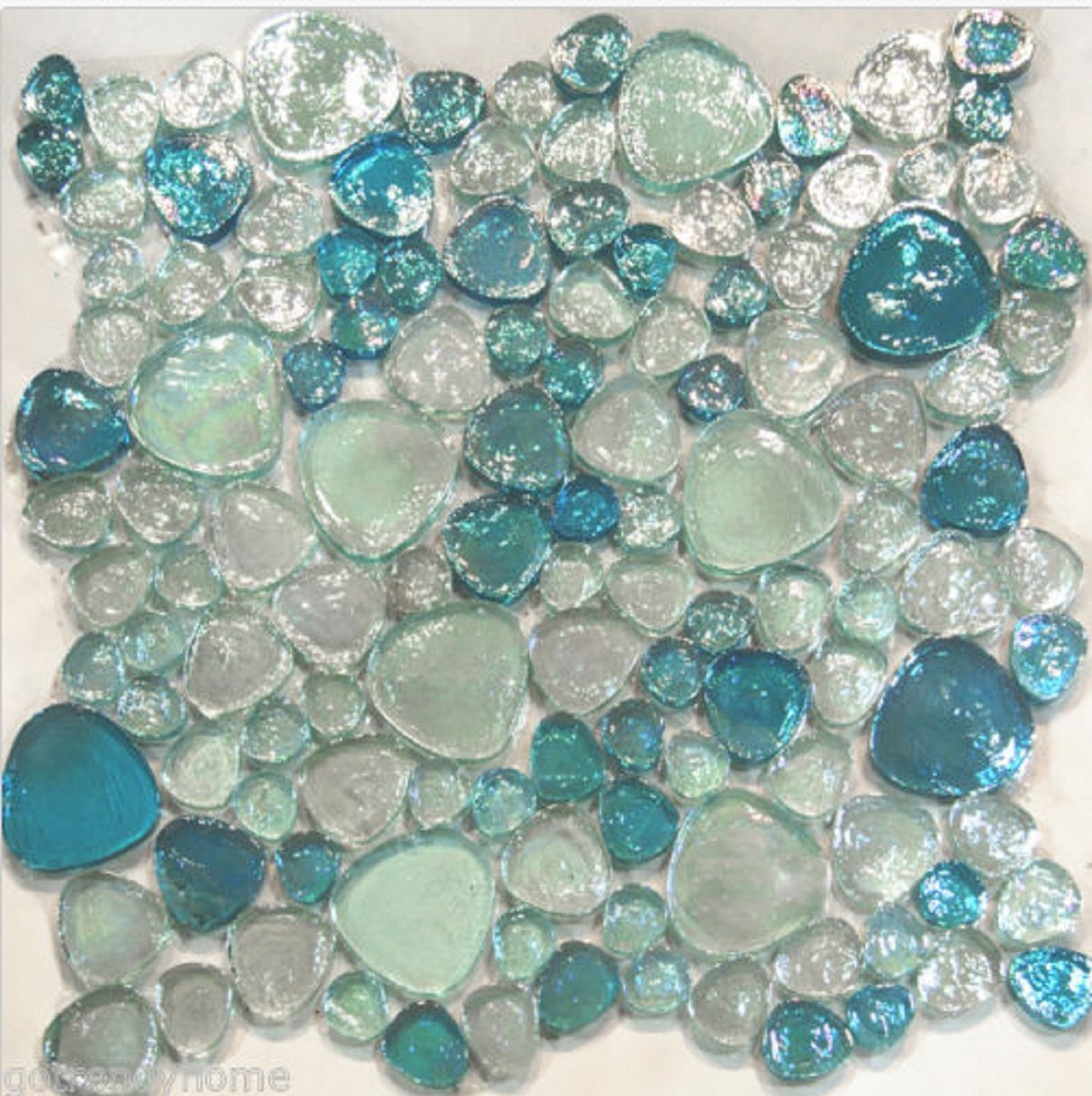 USA Premium Store 10SF-Blue Iridescent Random Pattern Glass Mosaic Tile Backsplash Kitchen Spa by USA Premium Store