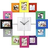 Vonhaus - Vonhaus reloj de pared con multicolor marcos de fotos - contiene 12 fotos