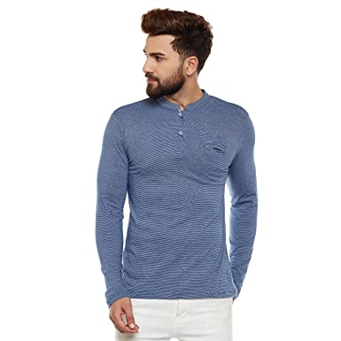 aa9d4141ef1 Wittrends Men's Blue Cotton Full Sleeves Ban Neck Henley T-Shirt:  Amazon.in: Clothing & Accessories