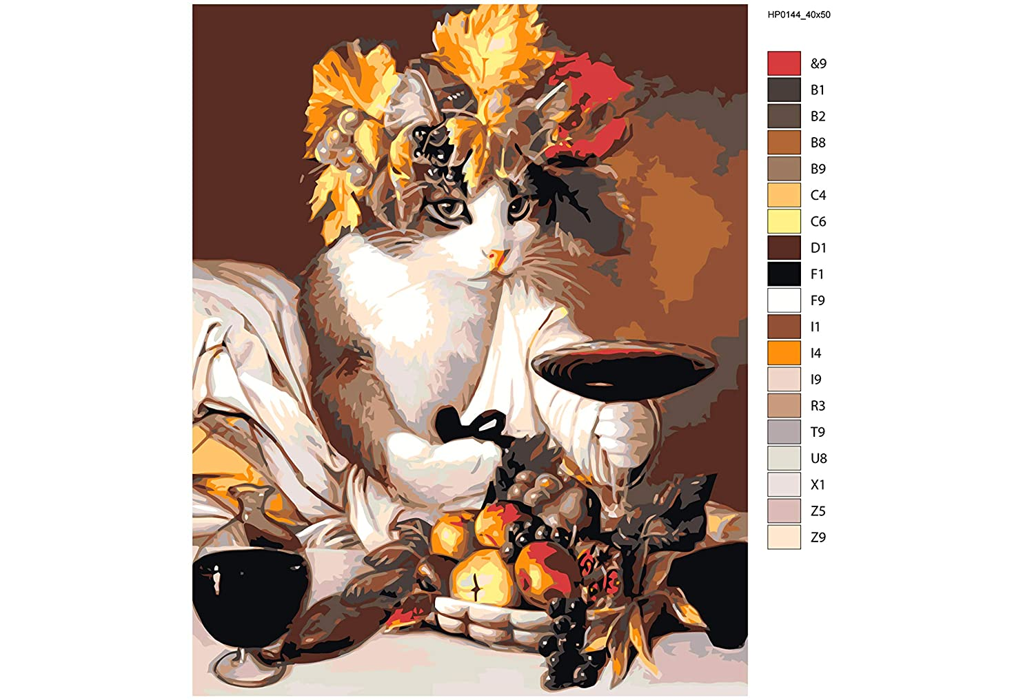Funny Cat Unique DIY Set for Painter HandMade Still Life Home Decor Fruits Paint by Numbers on Canvas With Wood Frame Cute Home Decor Kit