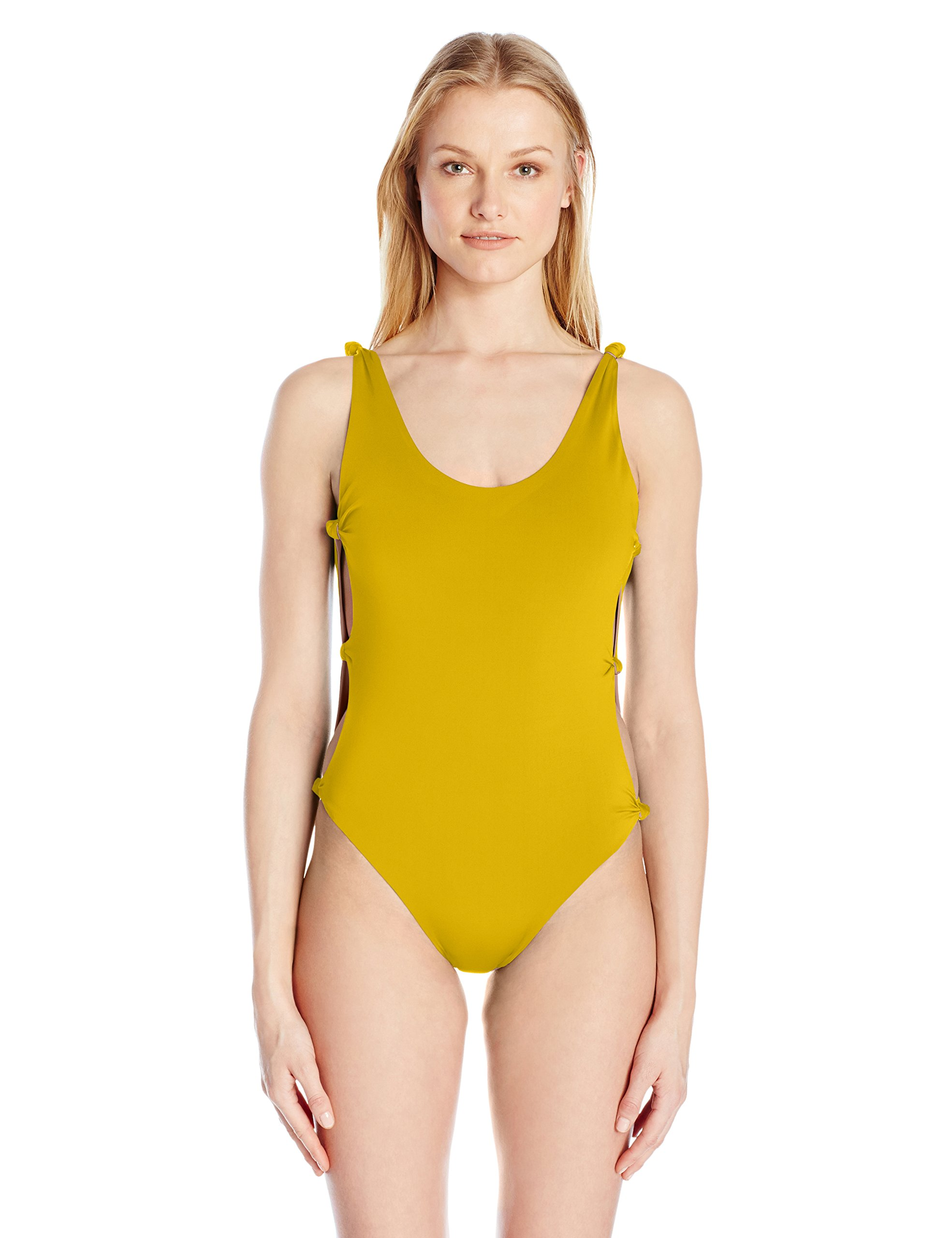 Red Carter Women's Indian Summer Reversible Solid Open-Side One Piece Swimsuit, Mustard/Indian Pink, M