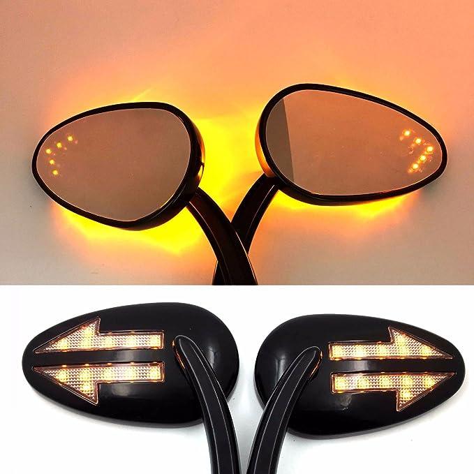 color negro HTT Espejos retrovisores para motocicleta con intermitentes integrados flechas con luz LED.