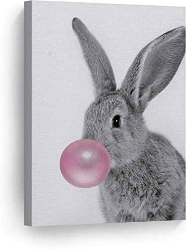 Smile Art Design Bunny Rabbit Animal Bubble Gum Art Pink Canvas Print Black and White Wall Art Home Decoration Pop Art Living Room Kids Room Decor Nursery Ready to Hang Made