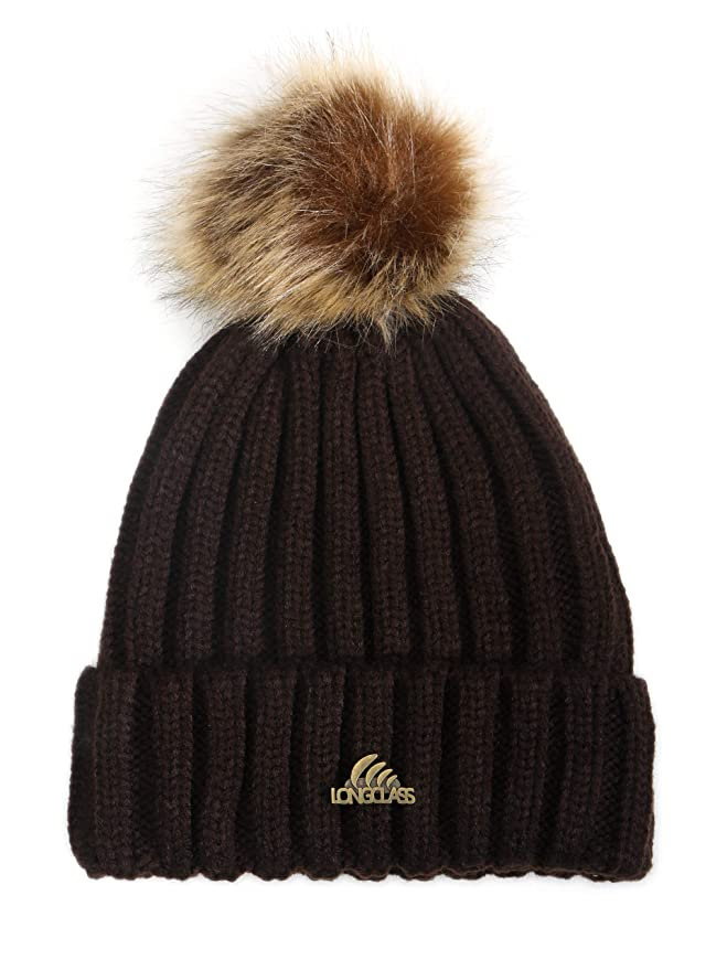 09eb777e8db Longclass Knitted Winter Bobble Hat Bomboleo Very Soft and Comfortable to  Wear and Fine Crafted Warm Knit Crochet Hat with Pom Pom for Men or Women  Girls ...
