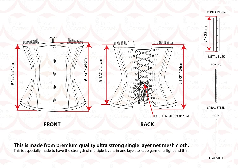 Playgirl Label Strong Steel Boned Waist Reducing Trainer Underbust Shaper Corset