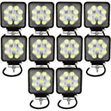Willpower 10 Pcs 4 Led Work Light Bar 27W 2200LM Driving Pods Flood Beam Work Lamp For Off-Road SUV Boat 4X4 Jeep JK 4WD Truck 12V-24V