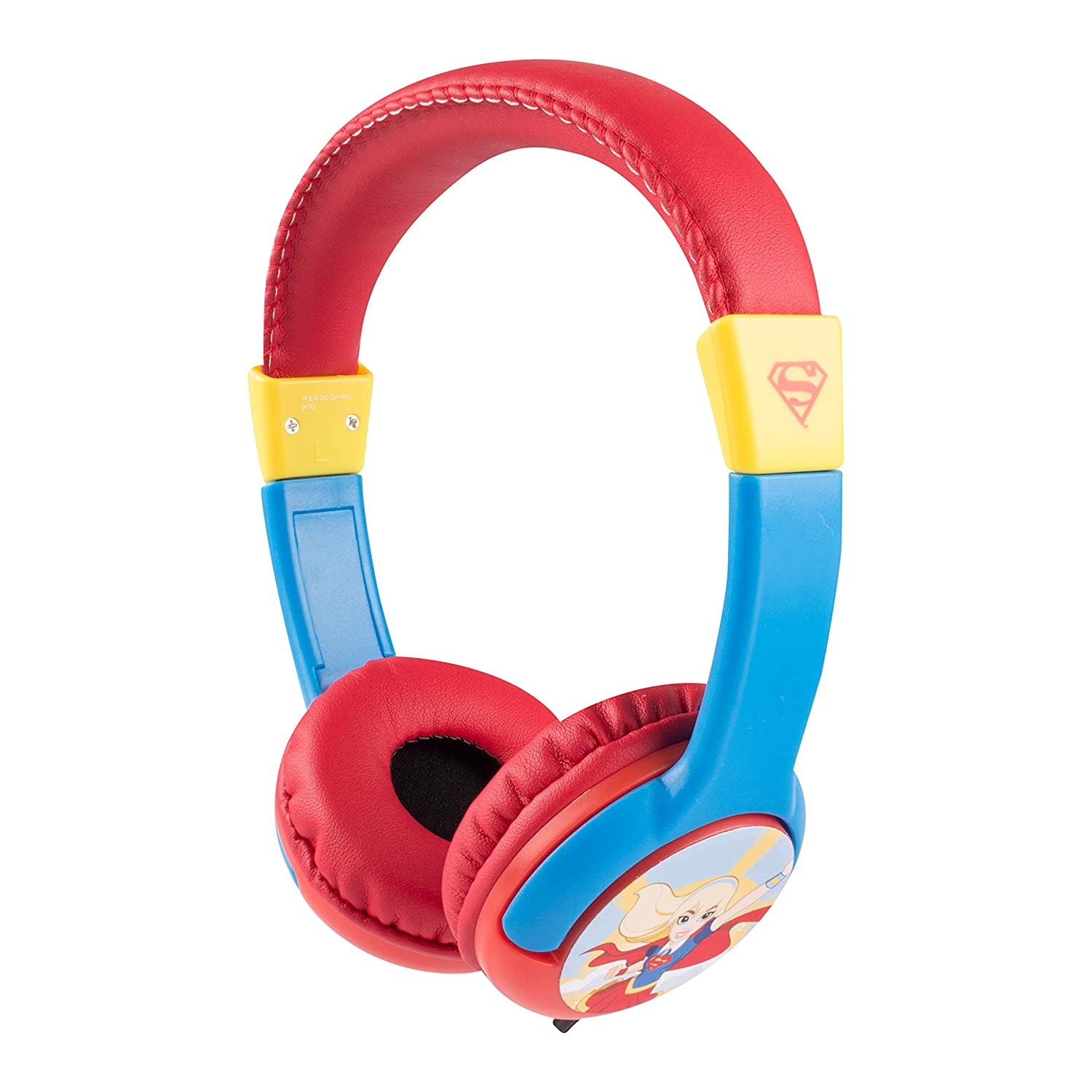 Super Girl HP2-09393C Kid Safe Headphone, Recommended for Ages 3-10, Tangle Free Cord, Wired Connectivity, Volume Limiting Technology, Cushioned Ear Cups and Adjustable Head Strap