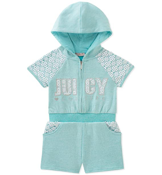 1eb38b863543 Amazon.com  Juicy Couture Baby Girls Hooded Romper  Clothing