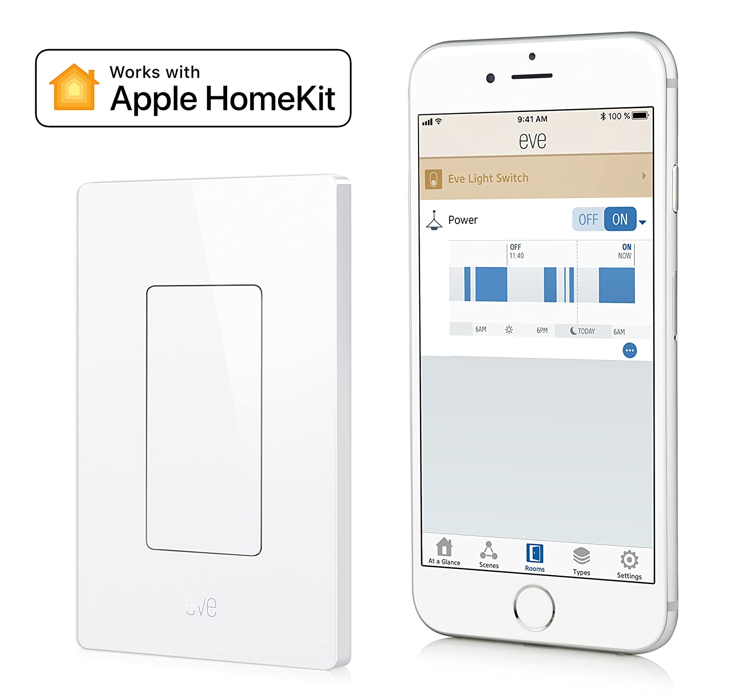 Eve Light Switch Connected Wall Easily Upgrade To Convert 3way Intelligent Automate Your Lighting With Timers And Rules Bluetooth Low Energy White Apple