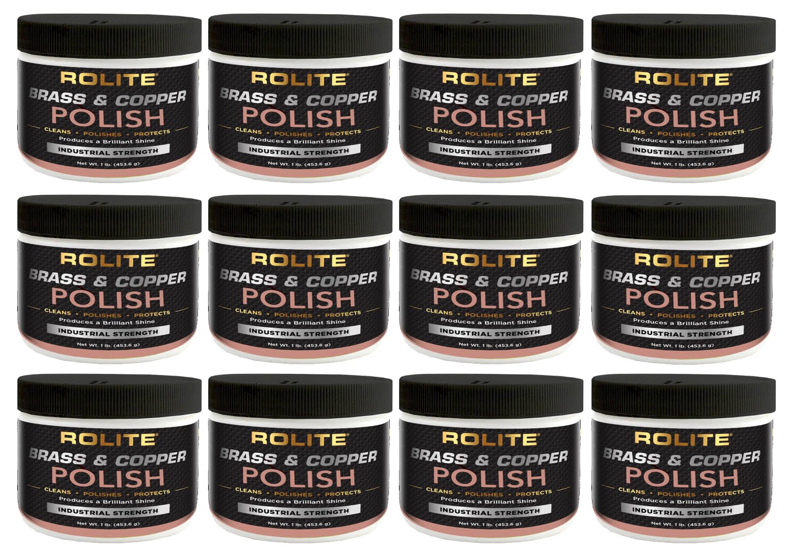 Rolite Brass & Copper Polish (1lb) Instant Polishing & Tarnish Removal on Railings, Elevators, Fixtures, Hotels, Cruise Ships, Buildings 12 Pack