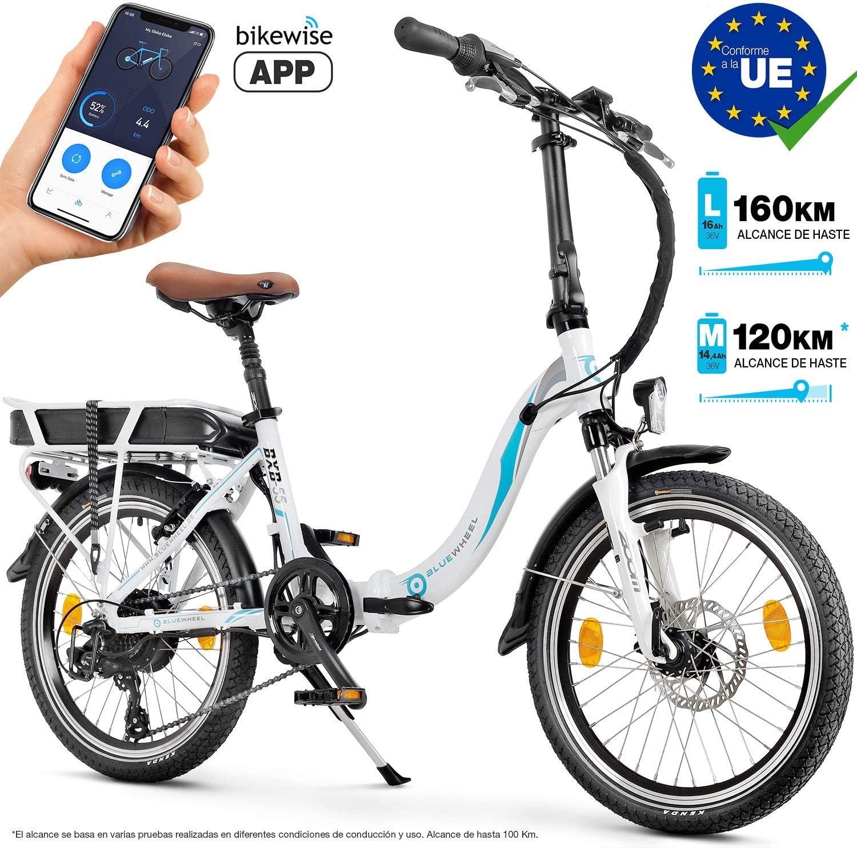 Bluewheel Bicicleta eléctrica de 20 Pulgadas Plegable 14,4/16Ah -Marca de Calidad Alemana- Pedelec Conforme a Normas EU, Incl. App, Motor de 250W, ...