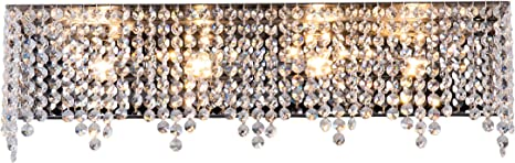 Luenfat Crystal Wall Sconces Crystal Bathroom Vanity Lights Fixture Over Mirror 24 Wide 4 Lights Rectangular Mirrored Stainless Modern Glam Wall Chandelier With Sparkling Clear Crystal Fittings Amazon Com