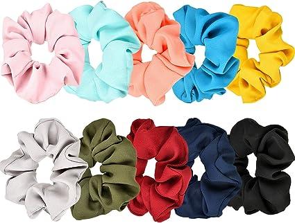 10 Piezas de Scrunchies de Pelo Banda de Pelo de Flor de Gasa Coletero Elástico para Mujeres y Chicas, 10 Colores: Amazon.es: Belleza