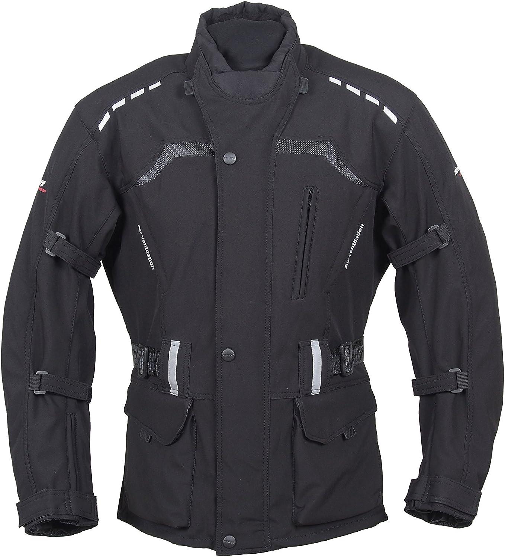 Roleff Racewear Lange Schwarze Motorradjacke Mit Softshell Material Protektoren Belüftungssystem Klimamembrane Und Herausnehmbarem Thermofutter Auto