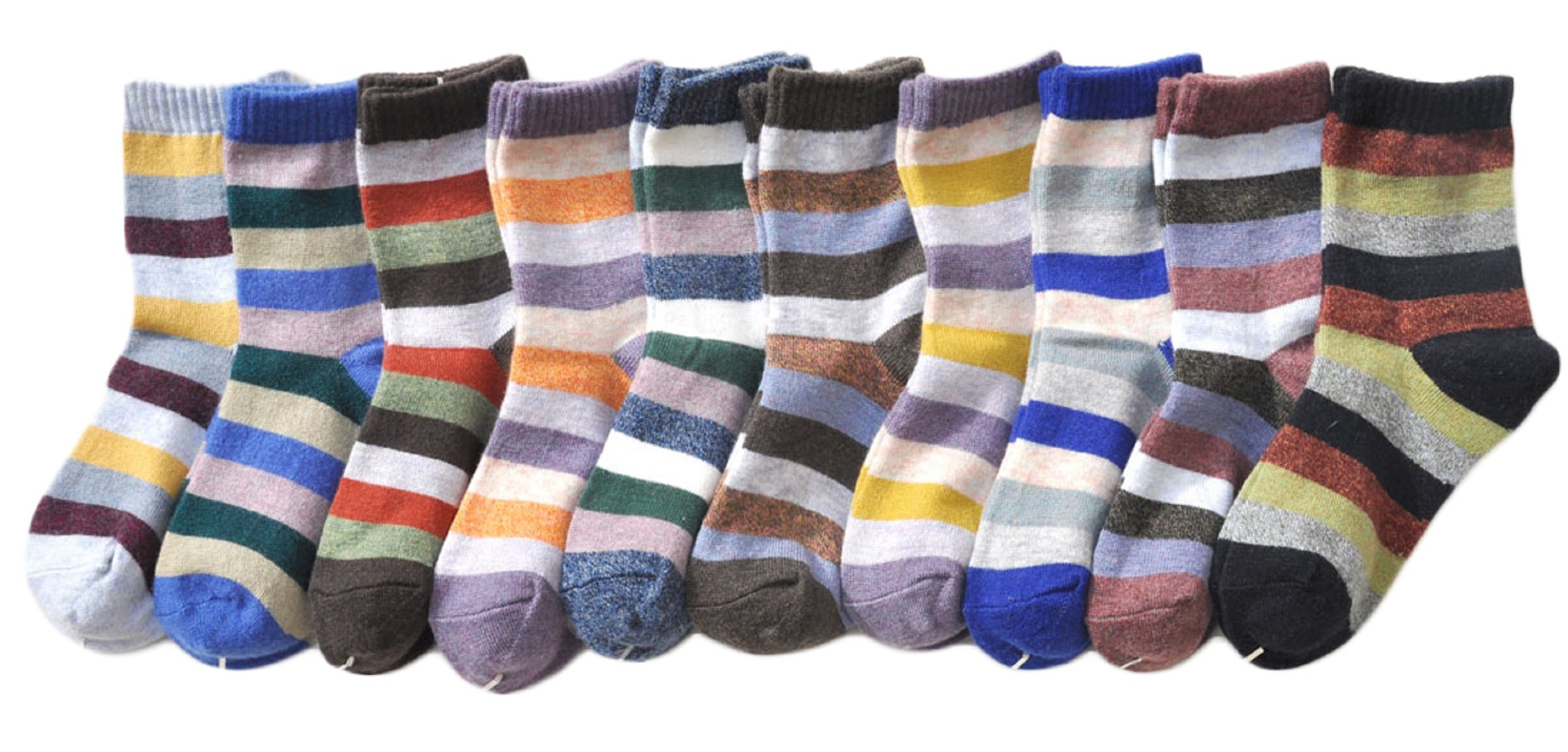 Lian LifeStyle Boy's 10 Pairs Pack Cashmere Wool Crew Socks Stripped Size 15-19CM by Lian LifeStyle