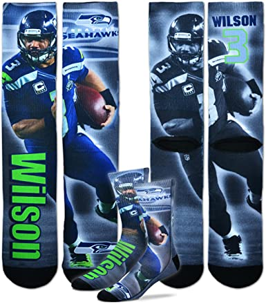 For Bare Feet Wilson Seahawks Montage Sock 308S-WILSONMONTAGE