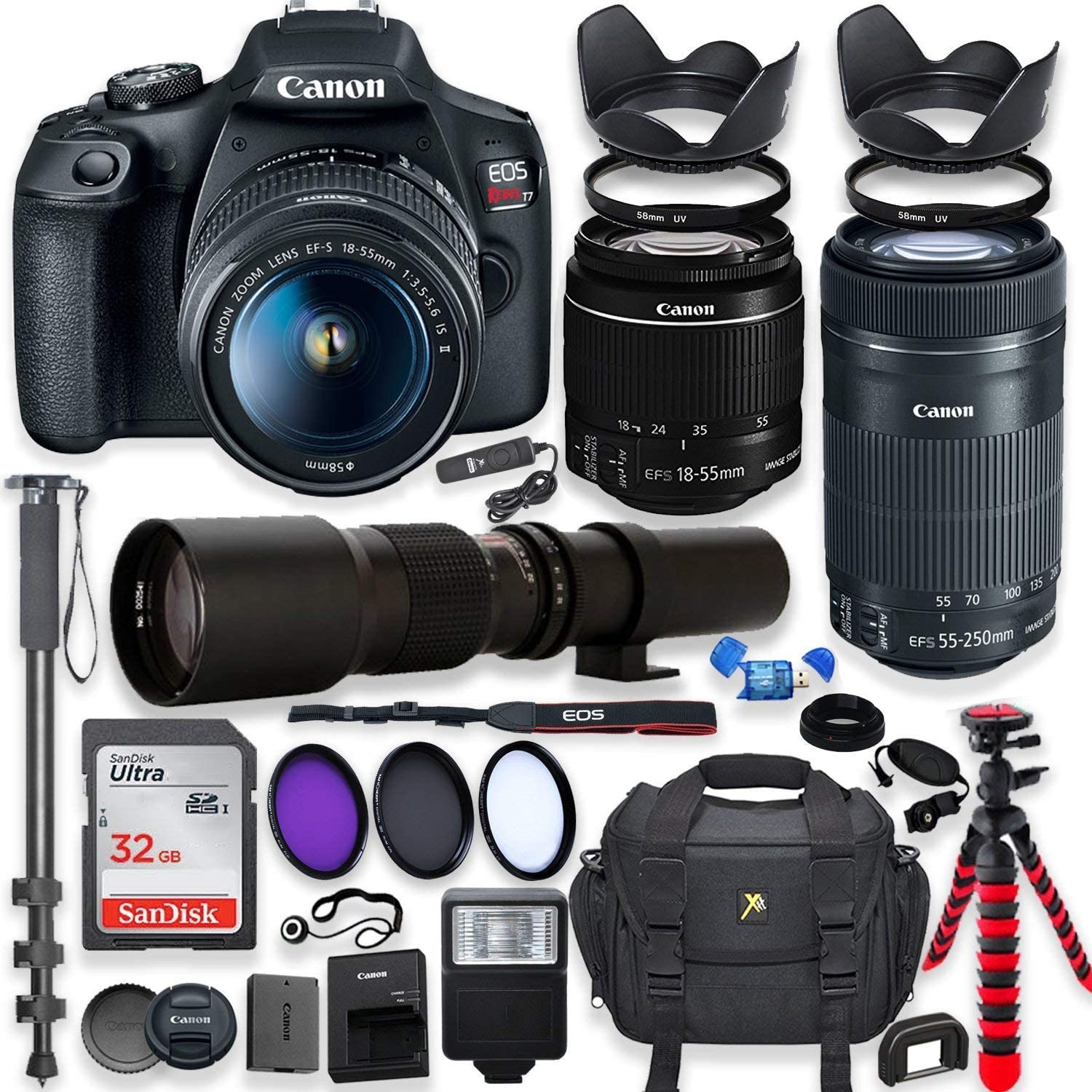 Canon EOS Rebel T7 DSLR Camera with 18-55mm is II Lens Bundle + Canon EF-S 55-250mm STM Lens and 500mm Preset Lens + 32GB Memory + Filters + Monopod + Spider Flex Tripod + Professional Bundle