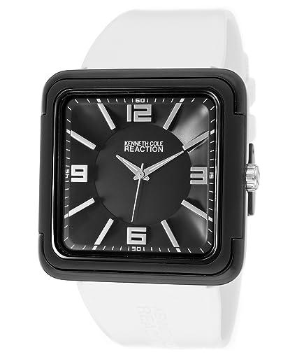 d3bcdba205bc Kenneth Cole Reaction rk1260 negro cuadrado cara correa de color blanco  reloj de la mujer  Amazon.es  Relojes