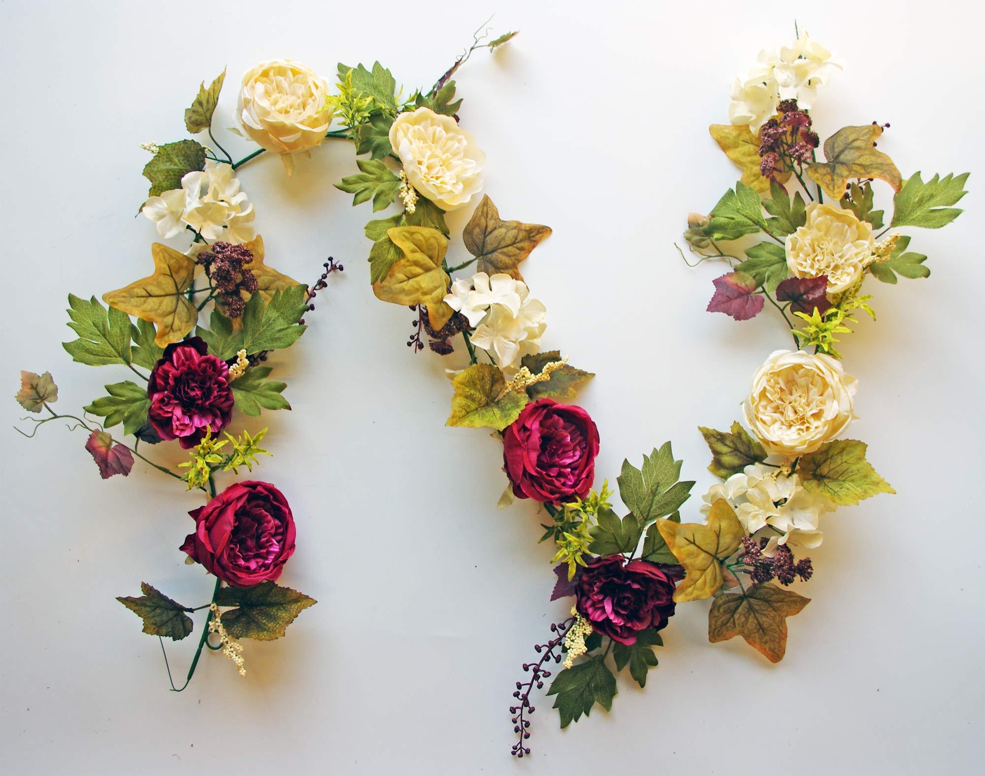 """silk flower arrangements es essentials 72"""" (6') cabbage rose and hydrangea berry garland (burgundy/cream)"""