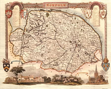 Norfolk Reproduction Antique Map Retro Reproduction Norfolk Map