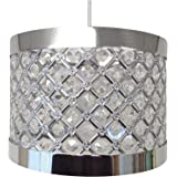 COUNTRY CLUB Sparkly Ceiling Pendant Light Shade Fitting, Plastic/Metal, Silver