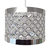 Moda Sparkly Ceiling Pendant Light Shade Fitting, Plastic/Metal, Silver