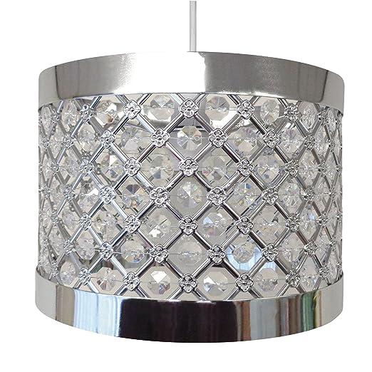 Accesorio de pantalla, lámpara colgante de techo, moderno, brillante, color plateado, led, metal